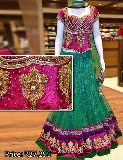 Heavily embellished Gagra choli set for special occasions. Drop by at Pothys Boutique, G N Chetty Road, T Nagar, Chennai, to view the finest range of designer Gagra Cholis in the city.