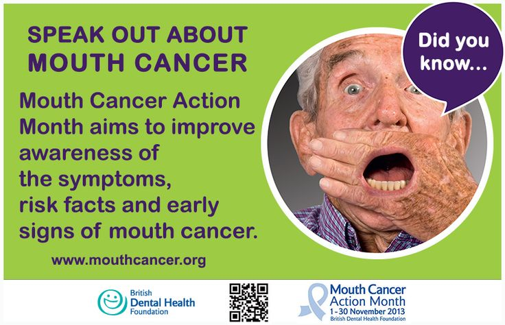 November is Mouth Cancer Action Month! It aims to improve awareness of the symptoms, risk factors and early signs of mouth cancer. Speak out about the deadly disease and spread the word - http://www.mouthcancer.org/