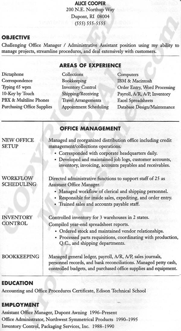office manager resume