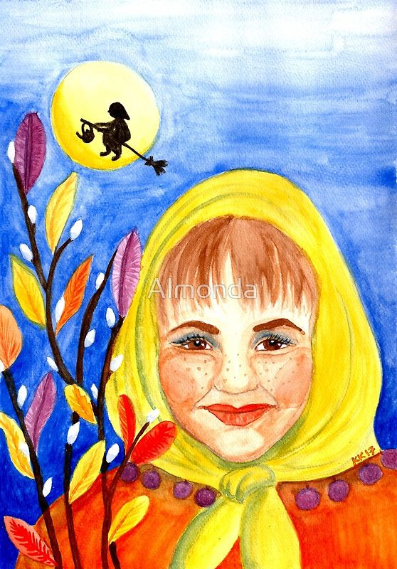 Easter Witch - Watercolor Painting. There are interesting Easter traditions around the world and this watercolor painting represents a Finnish Easter witch. In Finland kids decorate willow twigs with colorful feathers and other decorations. Then they dress up as Easter witches and go door to door kind of like trick or treating for Halloween. They wish good health and give the decorated willows in exchange for Easter eggs or candy.
