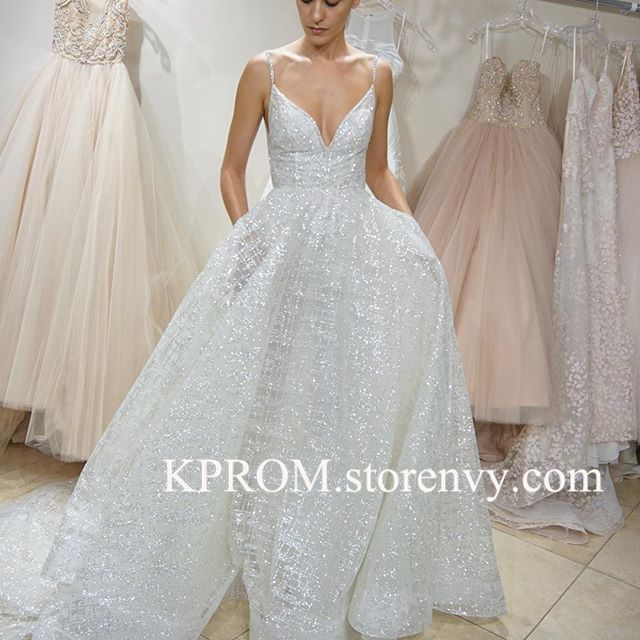 Sparkling Spaghetti Straps V Neck Glitter Wedding Dress A Line Bride Dress Glitter Wedding Dress Bride Dress Wedding Dresses
