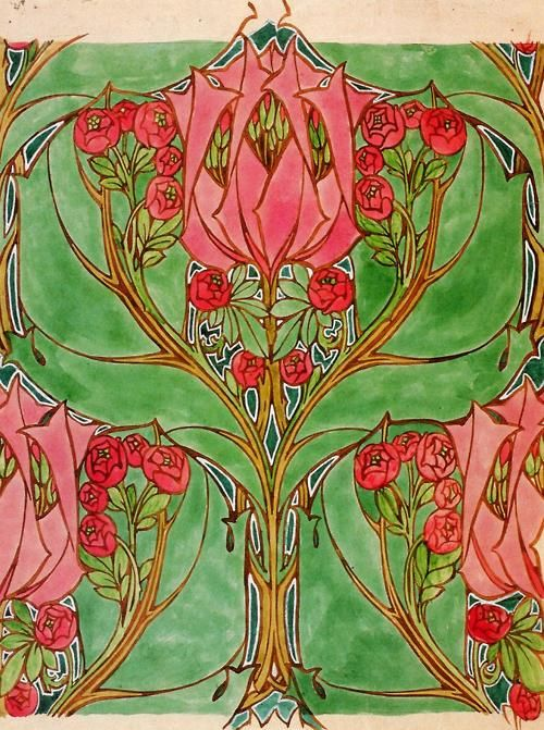 The Age of Roses, Day V.'Watercolour Design for Printed Linen' - Harry Napper.