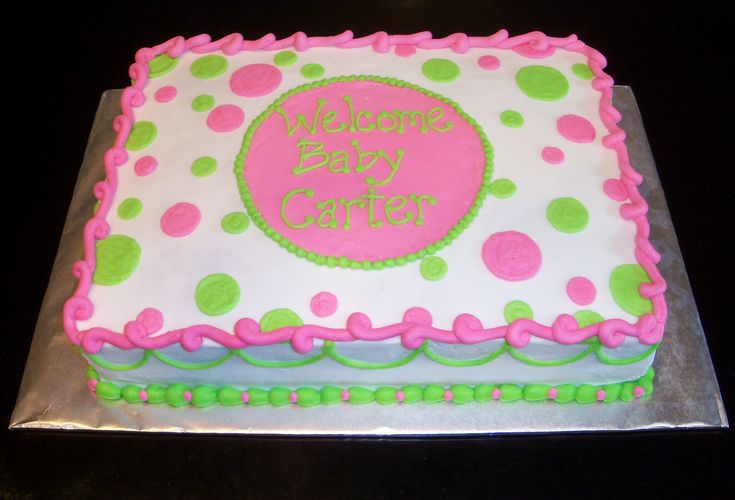 Pink and Green Baby Shower - All Butter cream baby shower cake.  Loved how the colors turned out!