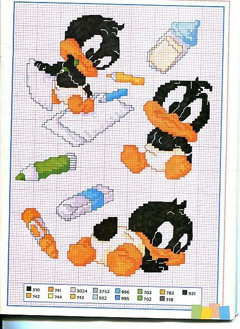 Cartoon Cross Stitch Patterns | Gallery Cross stitch patterns Children Cartoons Small baby Daffy Duck ...