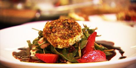 Strawberry-Arugula Salad with Warm Pistachio-Crusted Goat Cheese and Strawberry Vinaigrette Recipes | Food Network Canada