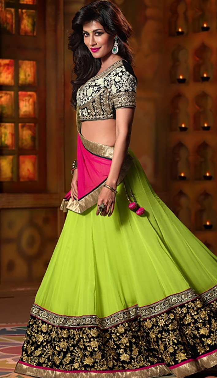 Get Indian Beautiful Olive Green Georgette Designer #LehengaCholi… http://bit.ly/1r5WP50