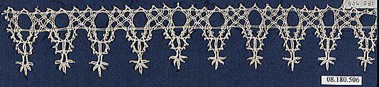 Fragment of lace, (linen?) bobbin lace, 16th century, Italian. Metropolitan Museum of Art accession no. 08.180.506