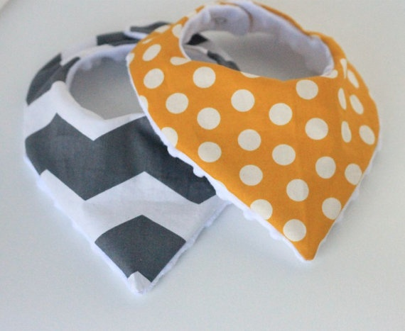 Baby Bandana Bibs - Set of Two Grey Chevron and Mustard Yellow Polka Dot Print with White Minky Dot Back- For Baby Girls or Boys