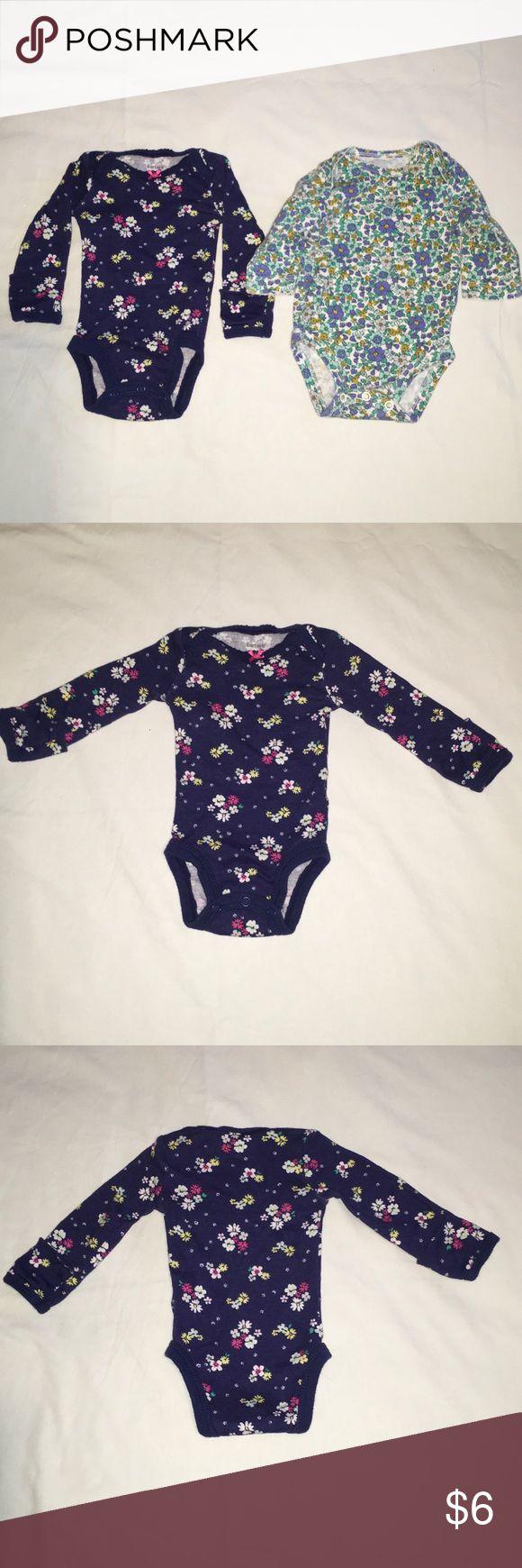 Onesie (set of 2) Navy with flower print mitten onesie, and white with blue/green/olive flower print onesie. Carter's Shirts & Tops