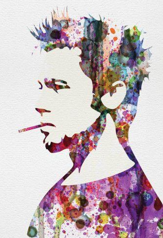 Pas mal le cadre Brad Pitt.. Jolies couleurs !! Fight Club Watercolor Affiches sur AllPosters.fr