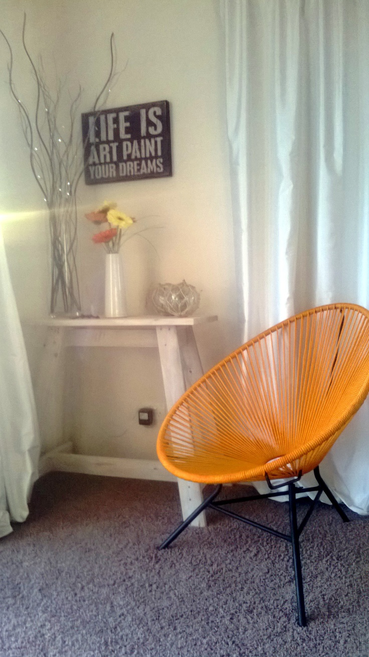 I finally bought myself an Acapulco chair in vibrant orange. I have wanted one for the longest time, I love it