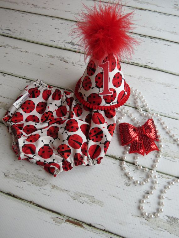 Baby Girl / Toddler Cake Smash Birthday Party and Photo Outfit in Red and White Ladybugs