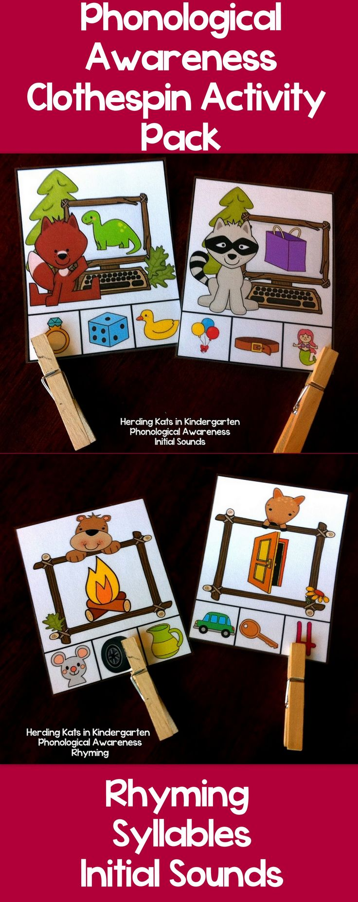 Phonological Awareness Clothespin Activity Pack - covers Rhyming, Syllables & Initial Sounds - great for small groups or work station/centers! Perfect for Pre-k and Kindergarten and as remediation for 1st graders! Phonological Awareness skills are precursors for reading and this pack provides lots of fun practice with these key skills!