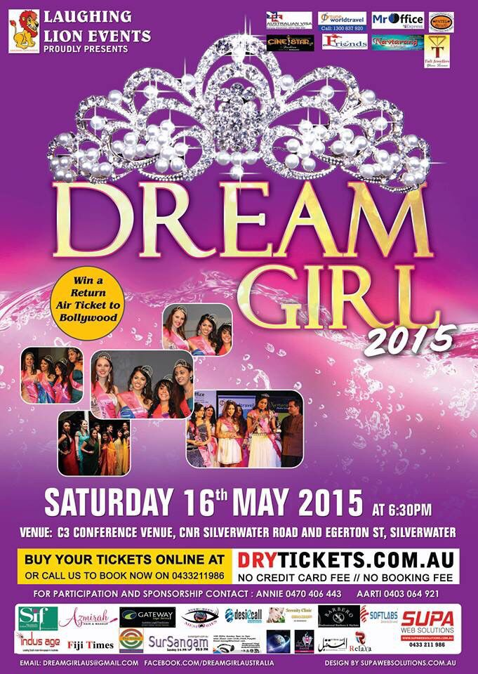 27 days left  Get your tickets to Australia's exclusive multicultural talent quest We have girls from  Pakistan, Bangladesh, Fiji, Vietnam, India, Uganda and Congo ...... Come and see their culture and talent Get your tickets at  http://goo.gl/m1dNmN Or write to us on dreamgirlaus@http://goo.gl/zVEZ