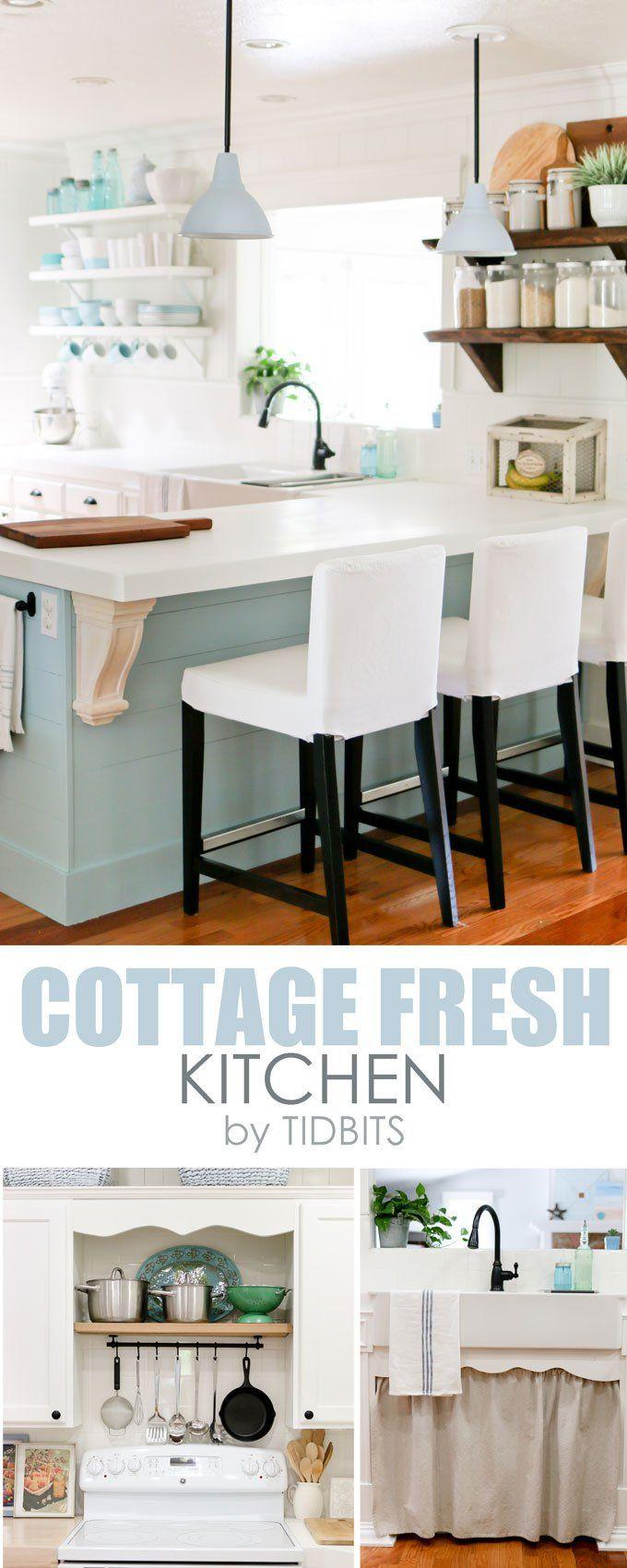 Cottage Fresh Kitchen // Love The Color Pallet & Open Shelving