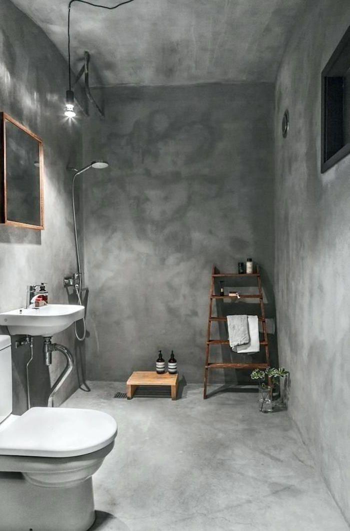 Badezimmer 15 Ideen Fur Die Beschichtung Der Wande Bad Ohne Fliesen Badezimmer Besc In 2020 Concrete Bathroom Bathroom Interior Bathroom Interior Design