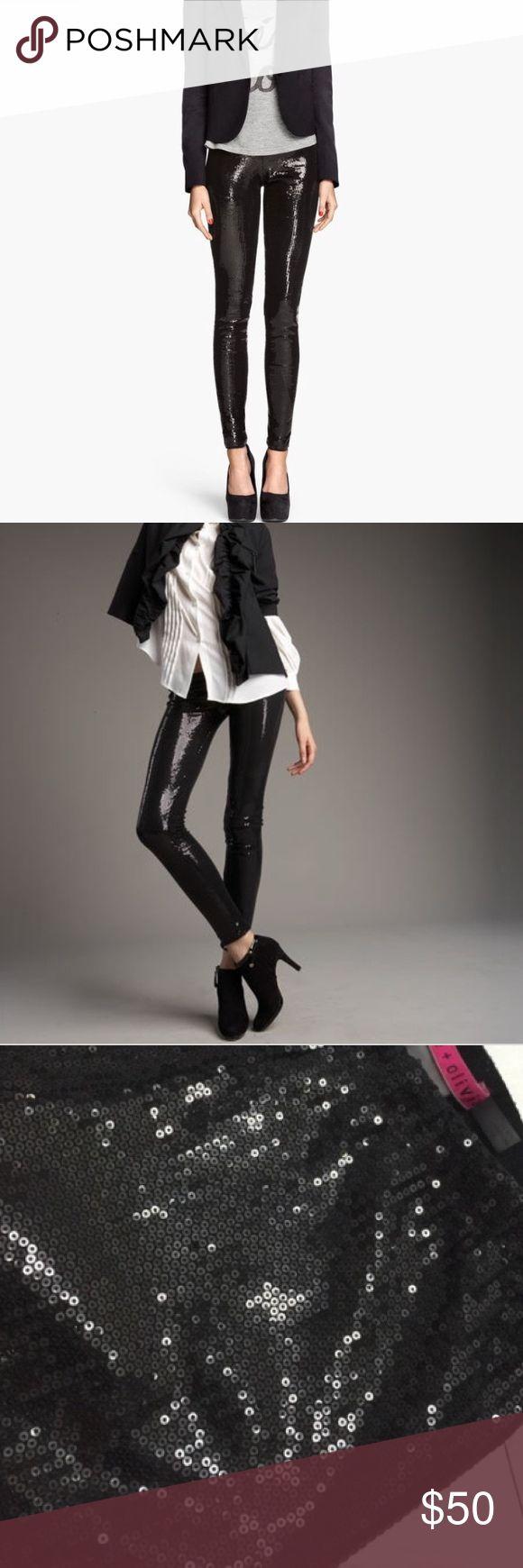 Alice + Olivia Black Sequins Leggings Authentic Alice + Olivia.  Gorgeous high quality black sequin leggings. Gathered elastic waist. Good condition.  Color: black  Size: small Alice + Olivia Pants Leggings