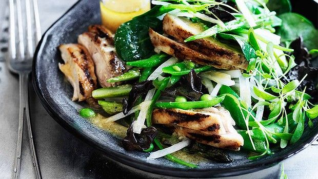 Salad of chargrilled chicken with ginger-miso dressing,