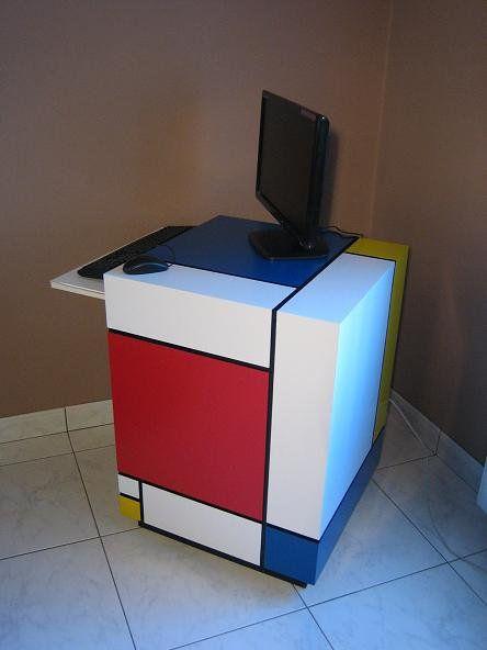 Piet Mondrian Painted Pc Table Desk Furniture By Chrlie