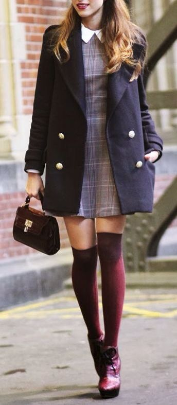 Retro dress, jacket, over-the-knee socks (printed tights instead?), cute shoes and a cute bag