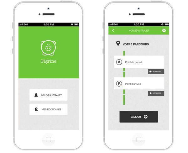 Pigrine - iPhone app concept by Felix Lepoutre, via Behance