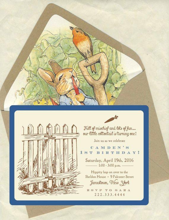 Peter Rabbit Birthday Invitations by bbinvitations on Etsy, $3.75