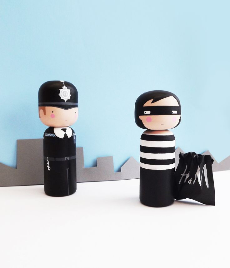 Cops and Robbers - Kokeshi Dolls - Sketchinc