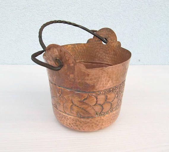 French Copper Kitchen Bucket hammered Jar Storage Home Decor