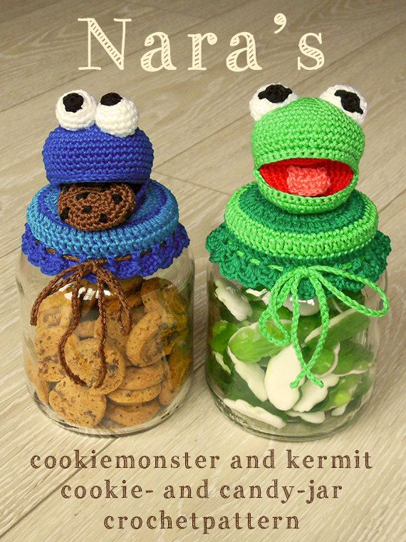 English Cookiemonster Kermit the Frog cookiejar pattern by NarasCrafts, €3.50