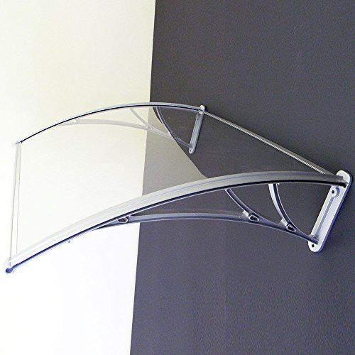 Polycarbonate Door Window Canopy Awning DIY kit, Sapphire, Clear cover board, Silver aluminum brackets, 4ft x 3ft