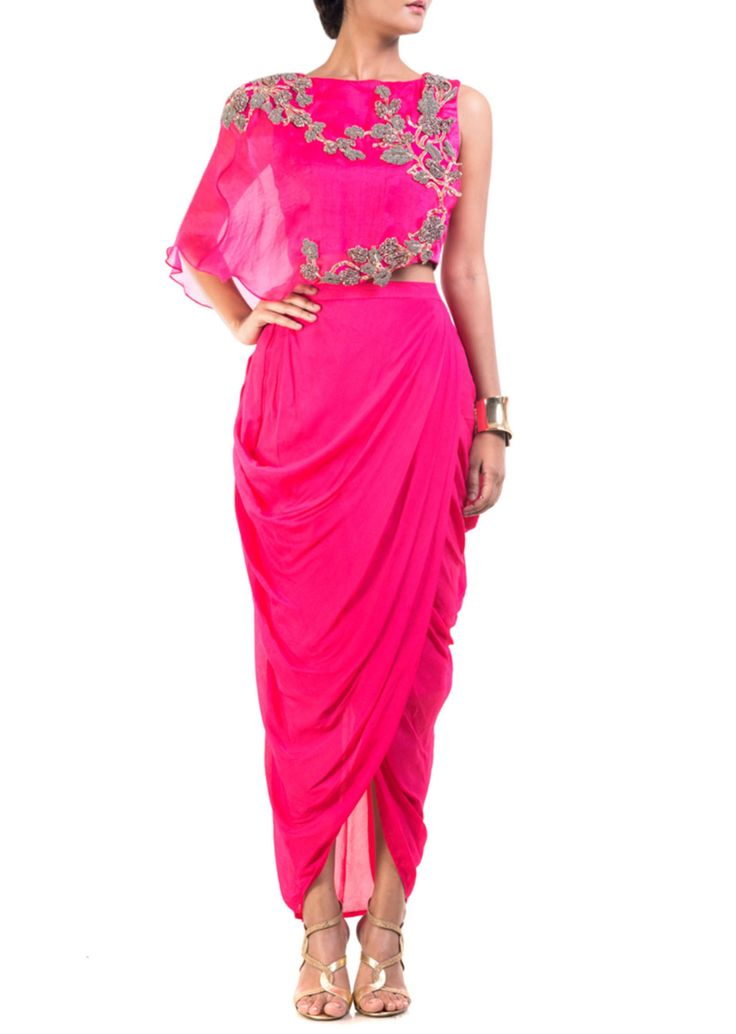 Fuchsia pink cape-cropper with dhoti skirt