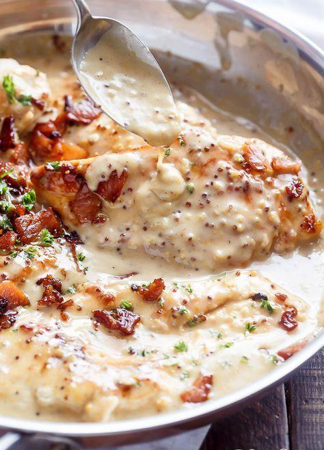 Sült csirke 5 bőr nélküli csirkemell vagy csirkecomb 10 dkg kockára vágott szalonna 80 ml tejszín 2,5 dl tej 3 evőkanál méz (szigorú diétában 1/2 tk. Lovely Sweet édesítő) 3 evőkanál mustár 1,5 evőkanál darált fokhagyma 1 evőkanál olívaolaj 1 evőkanál keményítő összekeverve 1 evőkanál vízzel só, bors 2 evőkanál apróra vágott, friss petrezselyem