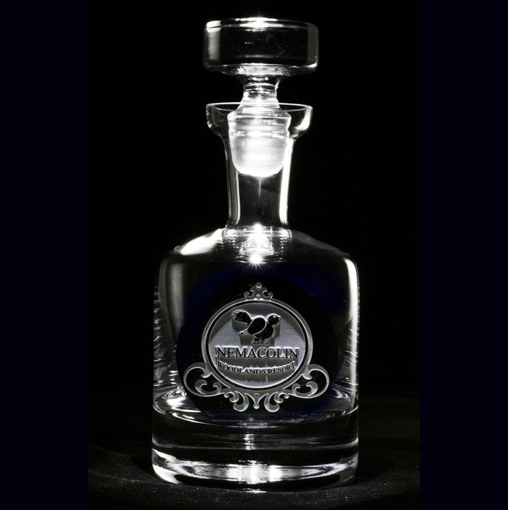 Corporate Logo Engraved Scotch, Whiskey Decanter. Only At Crystal Imagery.  Send Your Logo