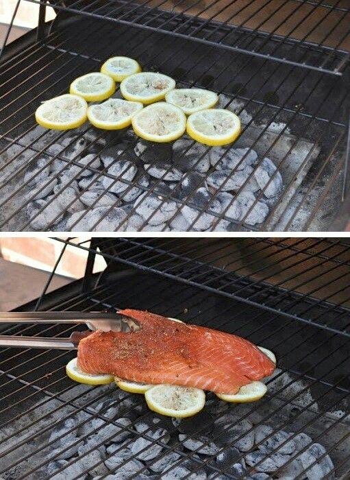 Fisch auf Zitronen grillen