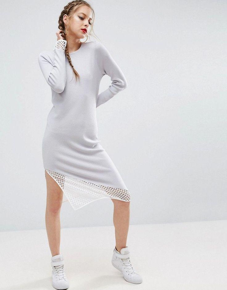 ASOS Midi Dress in Knit with Mesh Detail - Multi