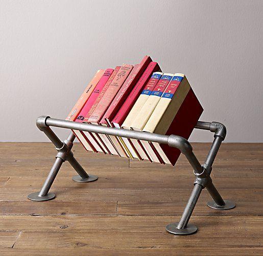 ingenious industrial pipe storage for books. #rhbabyandchild