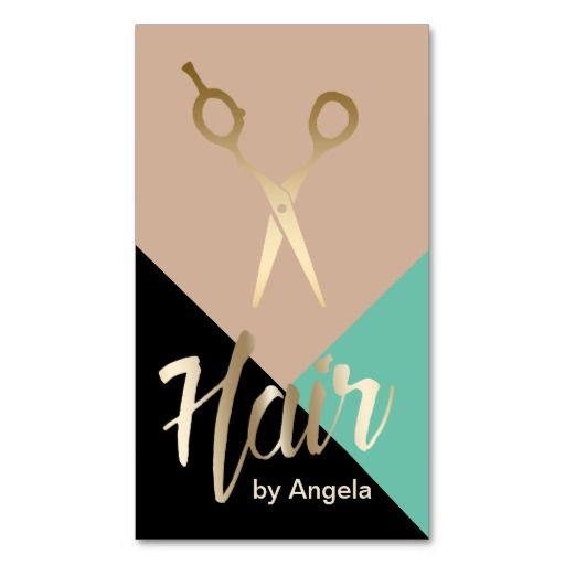 Hair Stylist | Gold Scissor Modern Hair Salon Double-Sided Standard Business Cards (Pack Of 100)