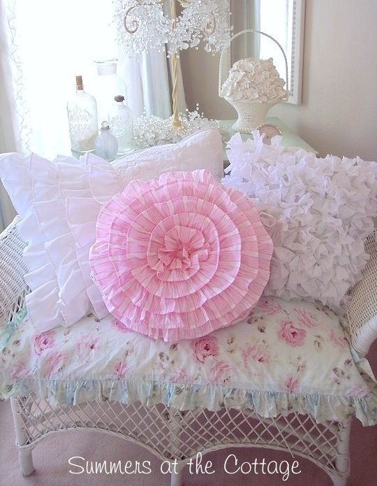 DARLING PINK RUFFLES ROUND SHABBY COTTAGE ACCENT PILLOW