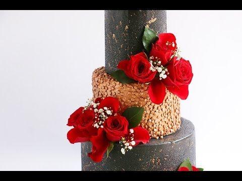 3 tier black and gold confetti cake- Rosie's Dessert Spot - YouTube