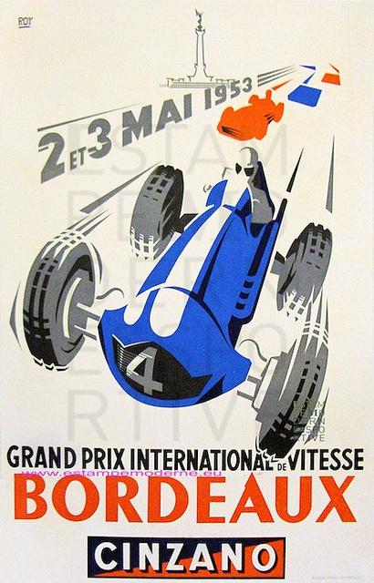 Roy Grand Prix International de vitesse Bordeaux 1953 Cinzano by estampemoderne.fr, via Flickr