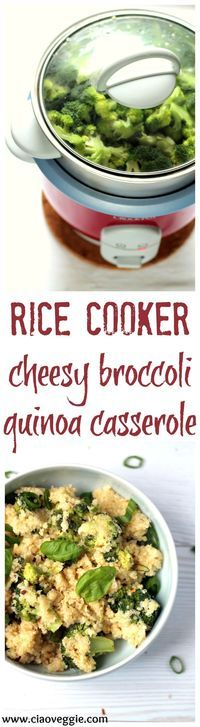 A cheesy quinoa and broccoli casserole made entirely in the rice cooker! A simple vegetarian meal or side dish.