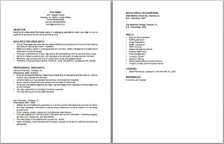 Best pharmacist resume sample httpwwwresumecareer