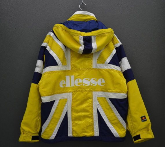 Ellesse Jacket Ellesse Color Block Jacket Ellesse Nylon Hooded Ski Jacket Ellesse Union Jack Insulated Winter Snowboard Jacket Mens Size M/L