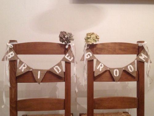 Bride & Groom Hessian Mini Chair Bunting - Rustic Vintage Wedding Banner Burlap