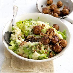 17 oktober - Kruimige aardappelen in de bonus - Recept - Andijviestamppot met groenteballetjes - Allerhande