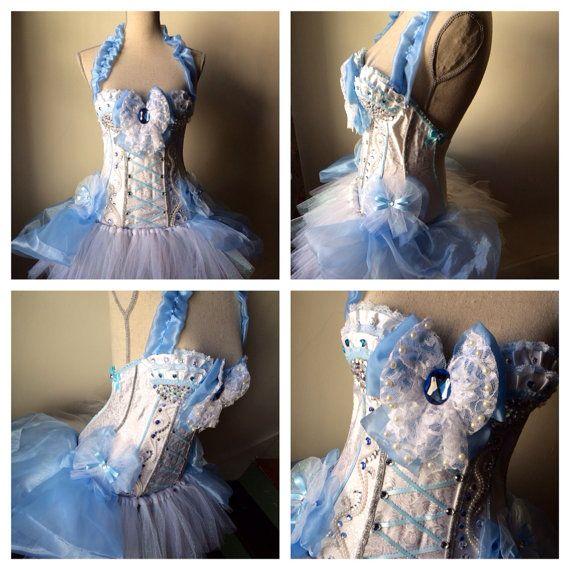 34B cinderella corset and tutu rave corset rave tutu cinderella costume festival princess white and blue on Etsy, $150.00
