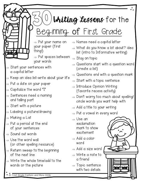 Blog post of writing tips, plus 30 writing lessons for the beginning of first grade chart (free)