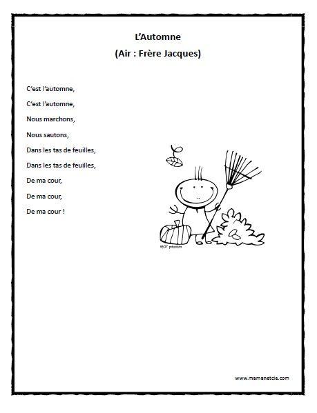 Chansons - Prescolaire - L'Automne - Chanson à imprimer en .pdf