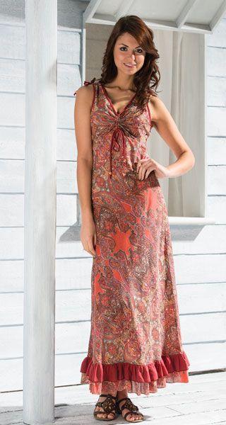 CHAMELI letní maxi šaty - fair trade oblečení z biobavlny, bambusu, konopí, modalu, tencelu a merino, přírodní kosmetika, bambucké máslo, fairtrade bytové doplňky
