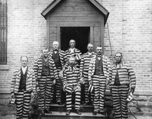 prisoners of utah. 1889. The stripes must be horizontal, or else it resembles a concentration camp uniform